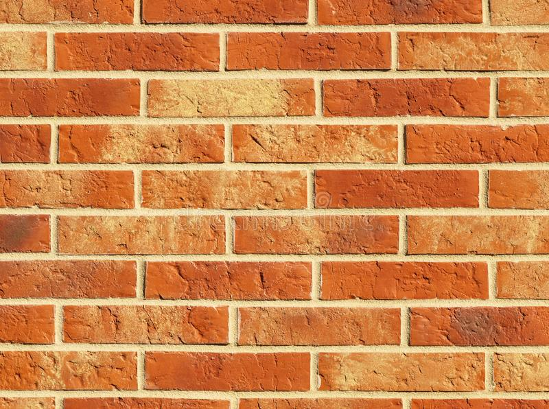 Old red brick wall texture background, orange stone block wall texture, rough and grunge surface as used for backdrop, wallpaper a stock photography