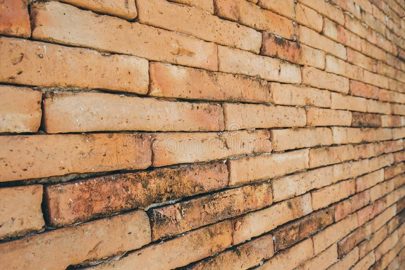 Old red brick wall, wallpaper texture background stock photo