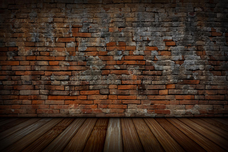 The old red brick walls and wood floors. The old red brick walls and wood floors, For background royalty free stock photos