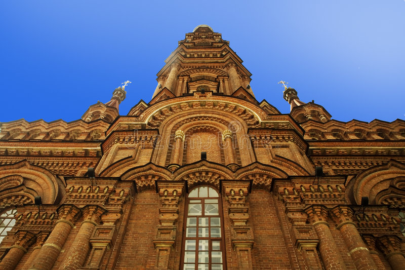 Old red building. Red brick bells-tower in Baumana st, Kazan, Russia stock photography