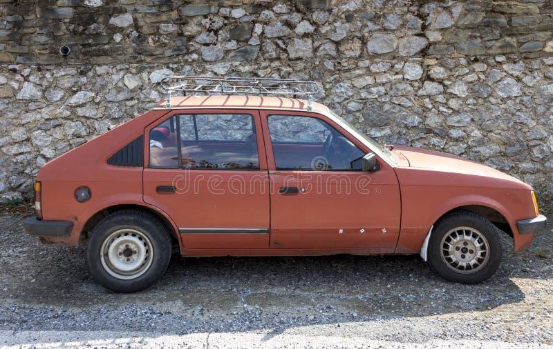 Old red Car Opel Kadett D stock images