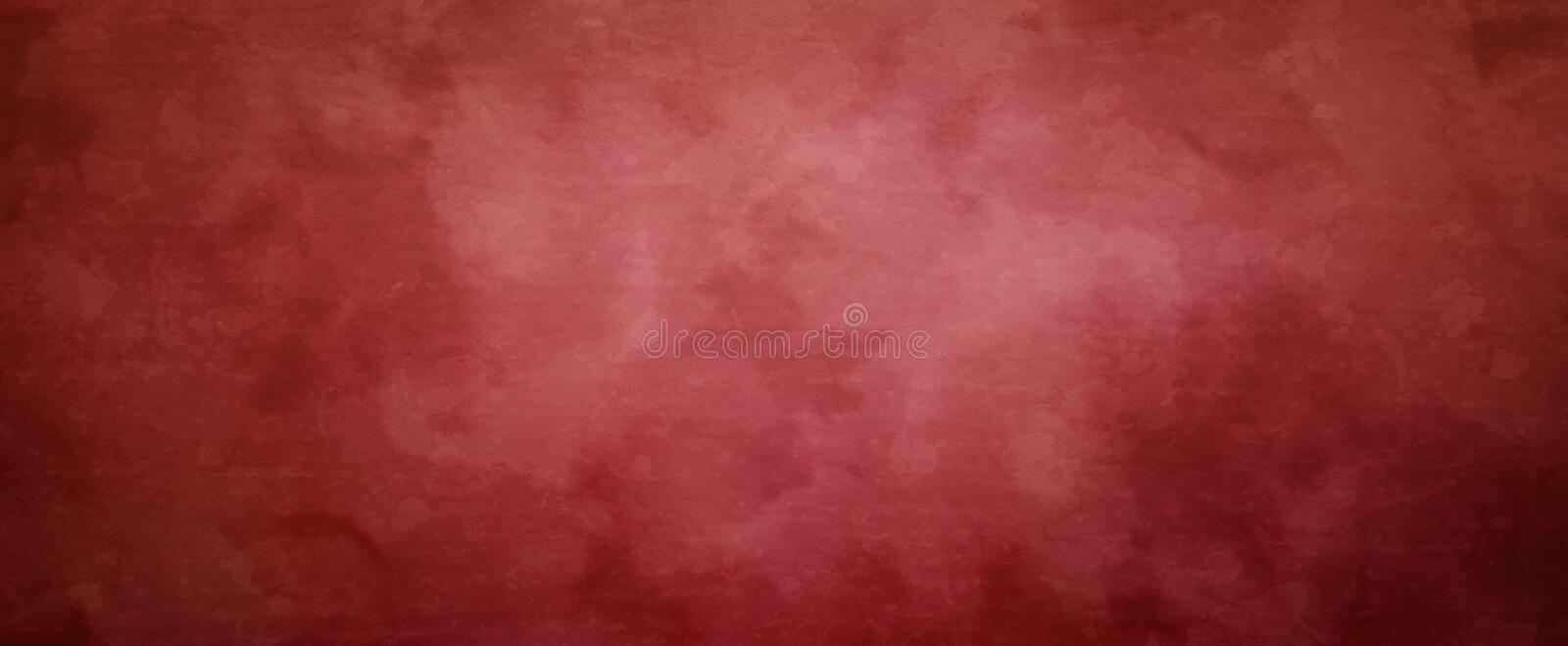 Old red Christmas background with vintage marbled grunge texture, solid blank elegant red banner layout. In panoramic size royalty free illustration