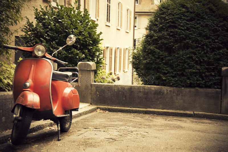 Download Old Red Classic Scooter stock photo. Image of motor, urban - 21060356
