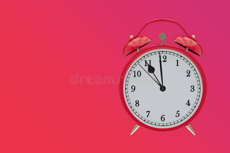 Old red clock on a red, shows 11 hours vector illustration