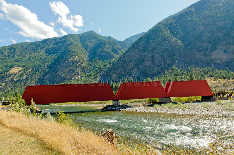 Old Red Covered Bridge royalty free stock photos