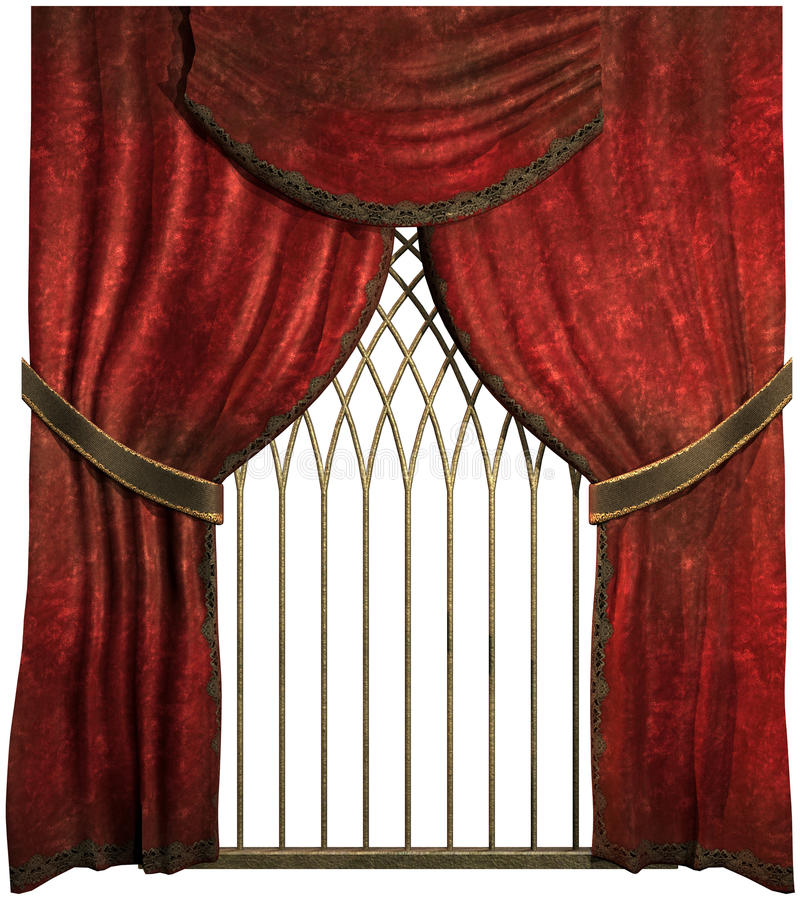 Download Old red curtains stock illustration. Illustration of retro - 26394773