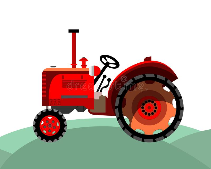 Old red farm tractor stock illustration