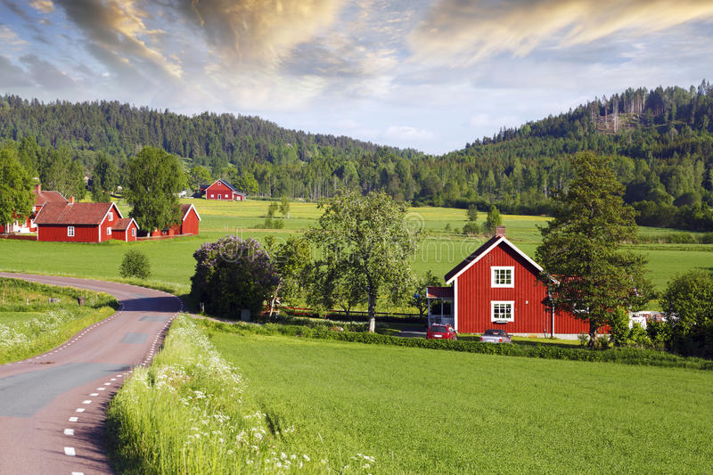 Download Old Red Farms In A Green Landscape Stock Photo - Image: 31642380