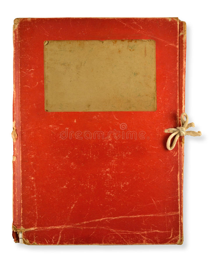 Old red folder. On white background stock photo