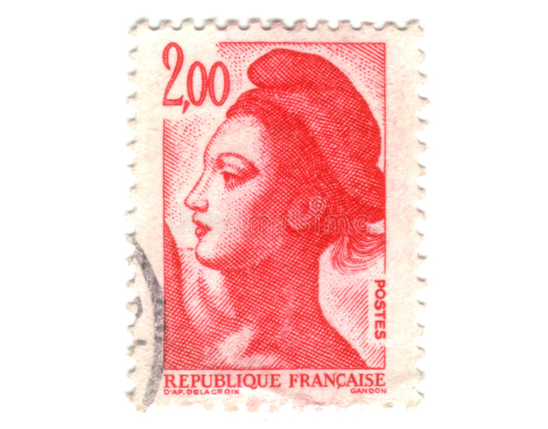 Old red french stamp. 2F stock image