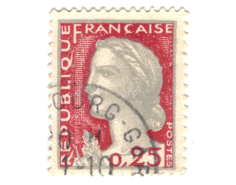 Download Old red french stamp stock image. Image of collection - 7211297