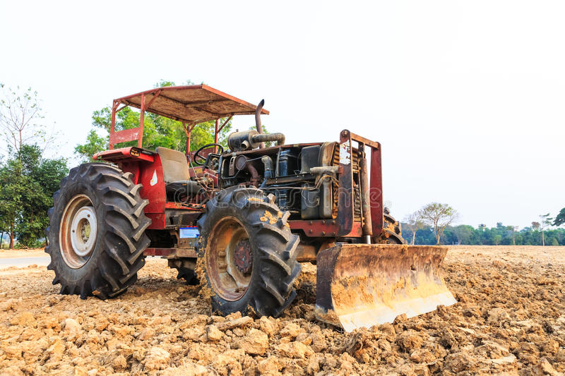 Download Old red grader bulldozer stock photo. Image of equipment - 28916540