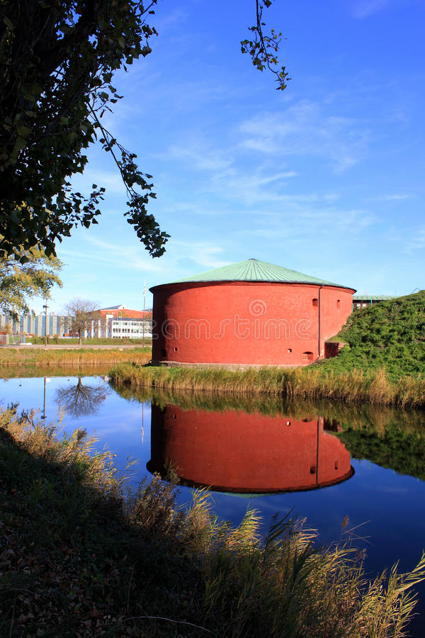 Old Red Granary And Blue River In Malmo Royalty Free Stock Photo
