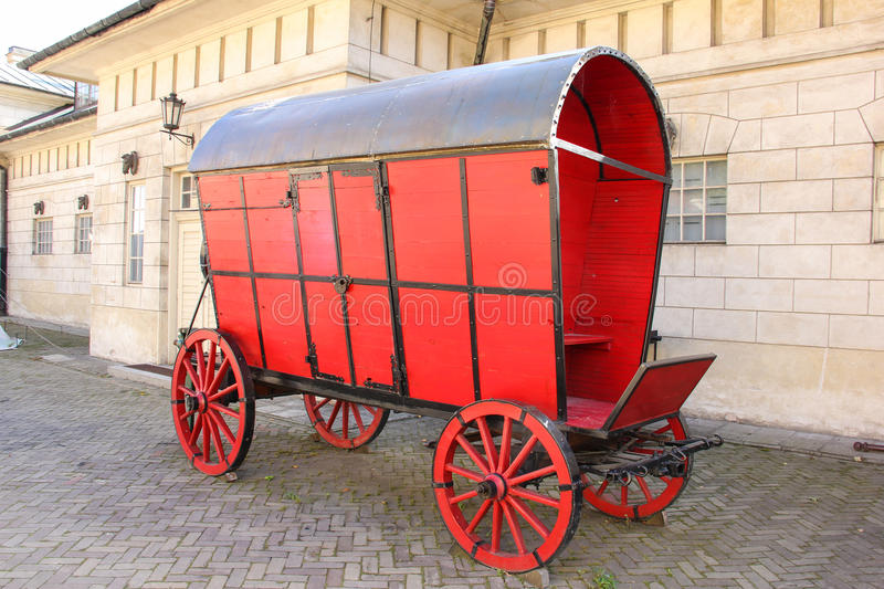 Old red horse wagon. Warsaw. Poland stock photo