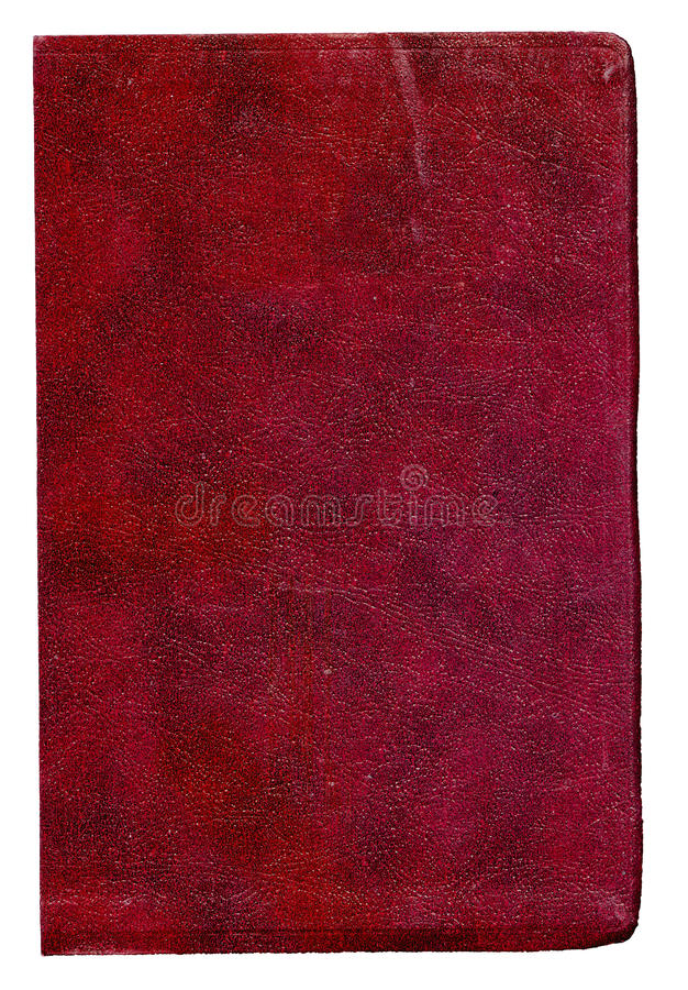 Old Red Leather Book Cover on White Background royalty free stock photo