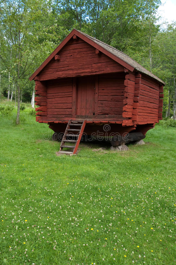 Old Red Log House stock photos