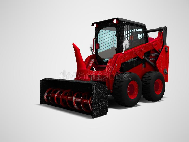 Old red mini loader nozzle snowthrower 3d render on gray background with shadow royalty free illustration