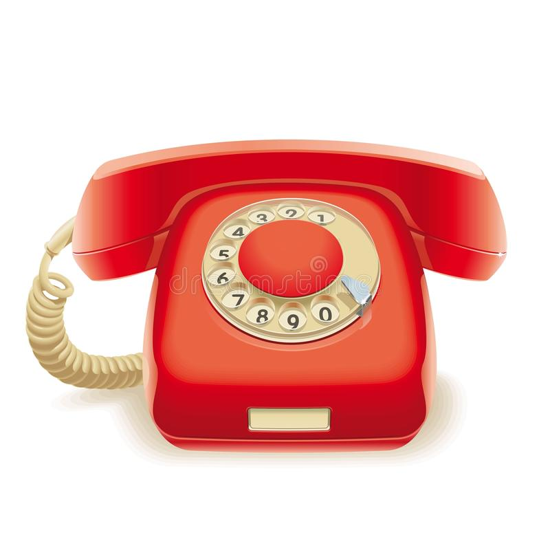Old red phone vector illustration