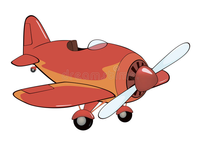 The old red plane cartoon stock vector image