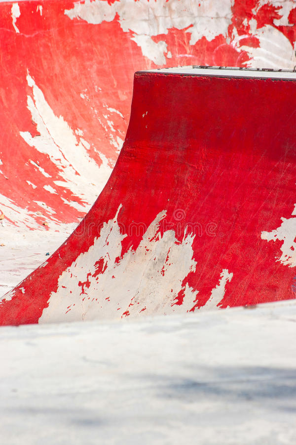 Download Old Red Skating Ramp With Half Pipe Rail. Stock Image - Image of play, empty: 47595537