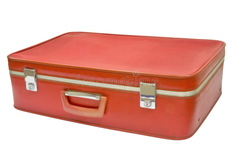 Old red suitcase stock image