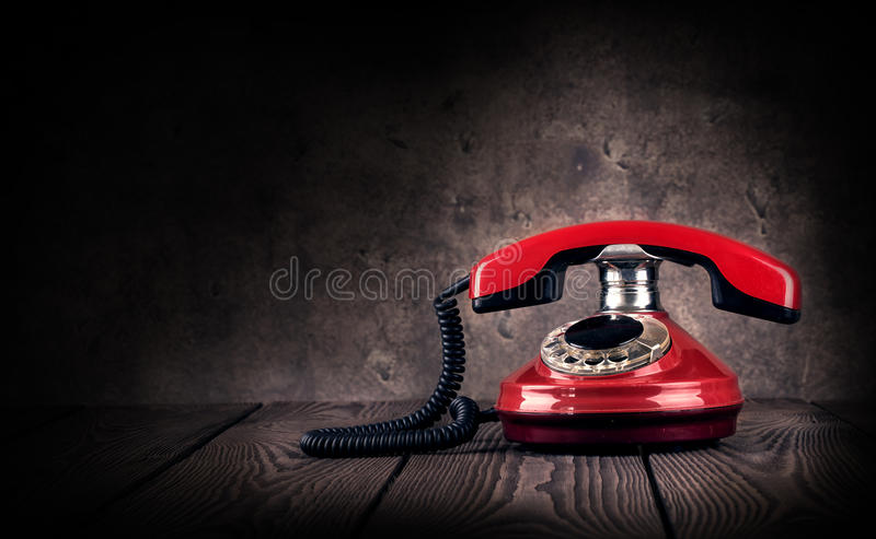 Old red telephone stock photo