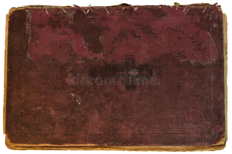 Old red textile cover of hand-written book isolated stock image