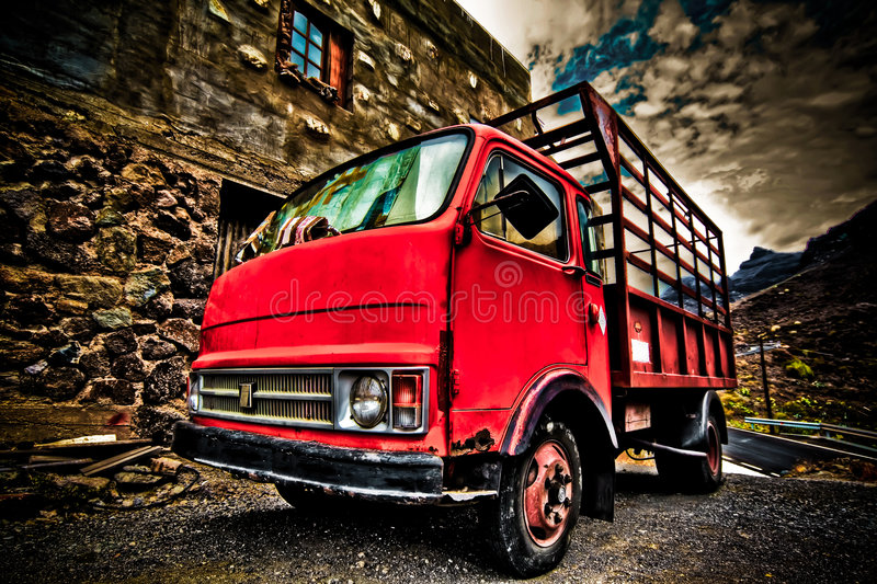 Old red truch shot in HDR stock photos