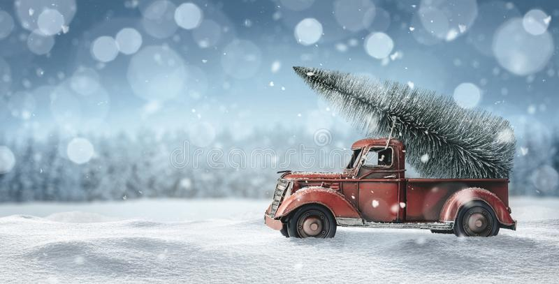 Old red truck with christmas tree royalty free stock photos