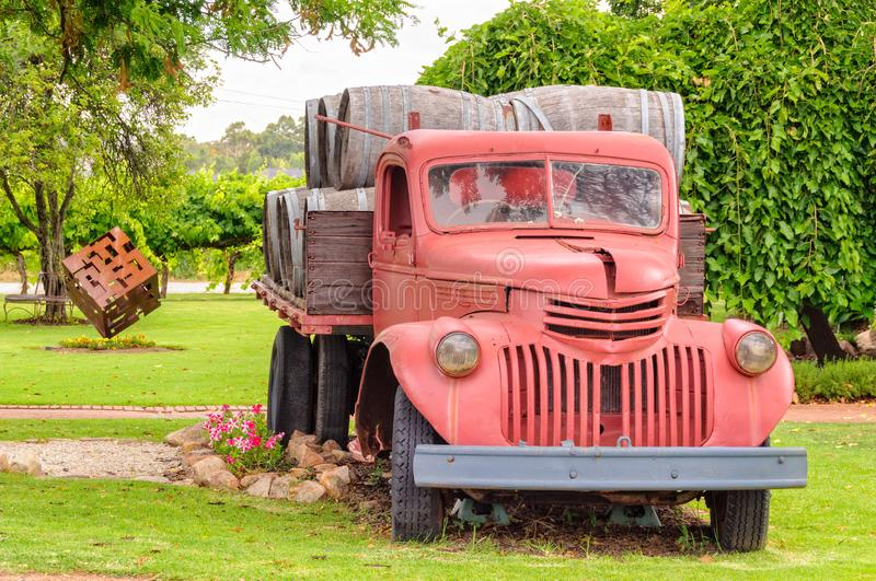 Old red wine barrel truck - Perth. Old red wine barrel truck on display at Swanbrook Winery & Cafe in the Swan Valley - Perth, WA, Australia royalty free stock images