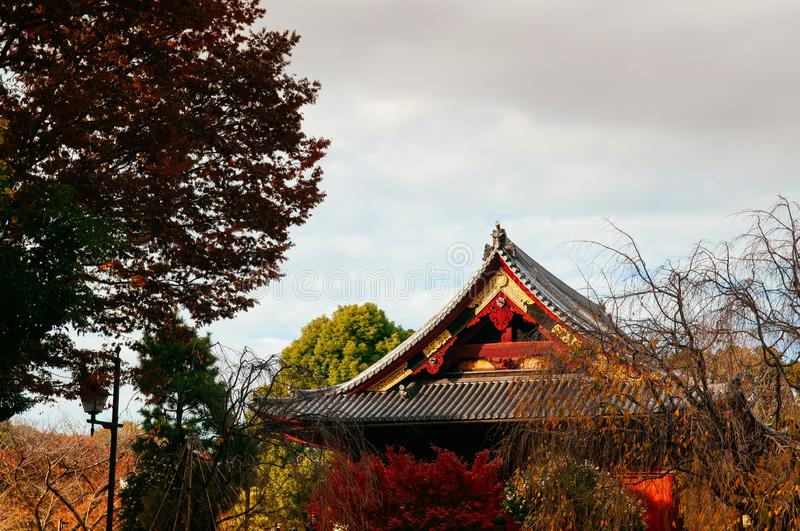 Old red wooden building of Kiyomizu Kannon-do shrine in Ueno park, Tokyo in autumn royalty free stock photo