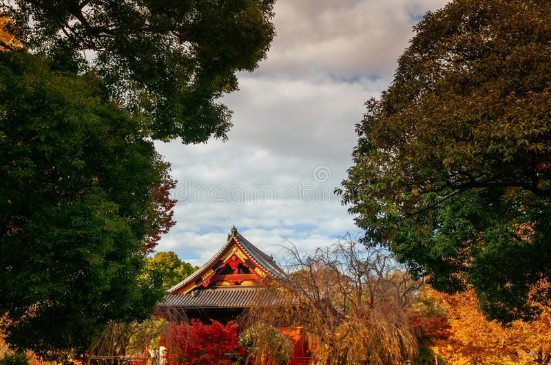 Old red wooden building of Kiyomizu Kannon-do shrine in Ueno park, Tokyo in autumn royalty free stock image