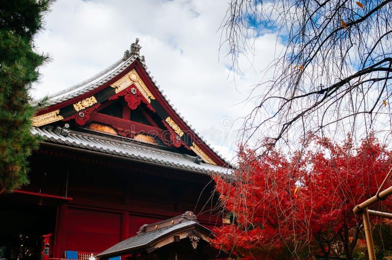Old red wooden building of Kiyomizu Kannon-do shrine in Ueno park, Tokyo stock photo