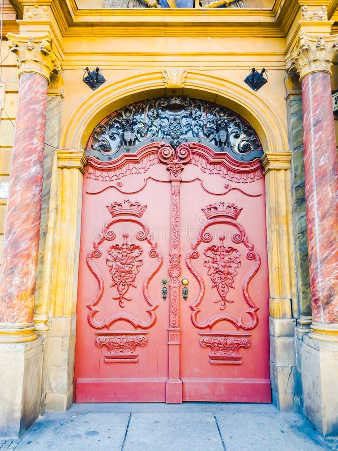 Old red wooden door royalty free stock photo