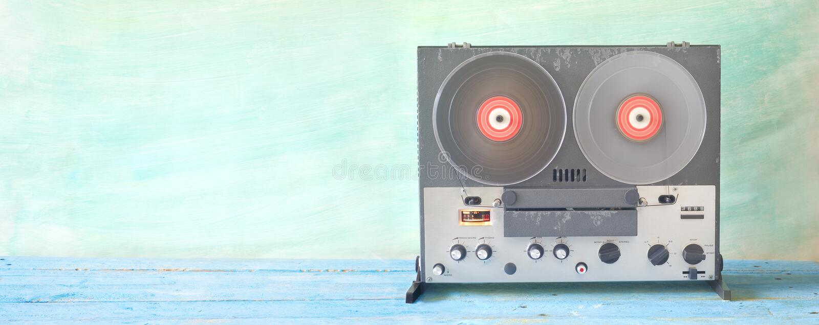 Old reel to reel tape recorder stock image
