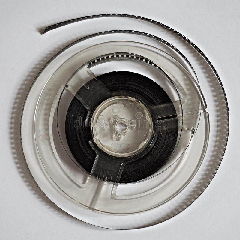 Old reels with black and white film stock image
