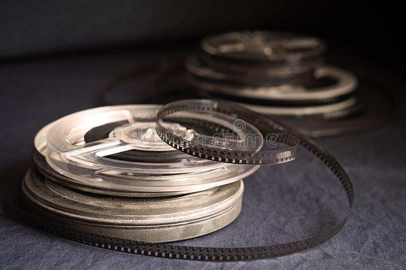 Old reels with black and white film royalty free stock photography