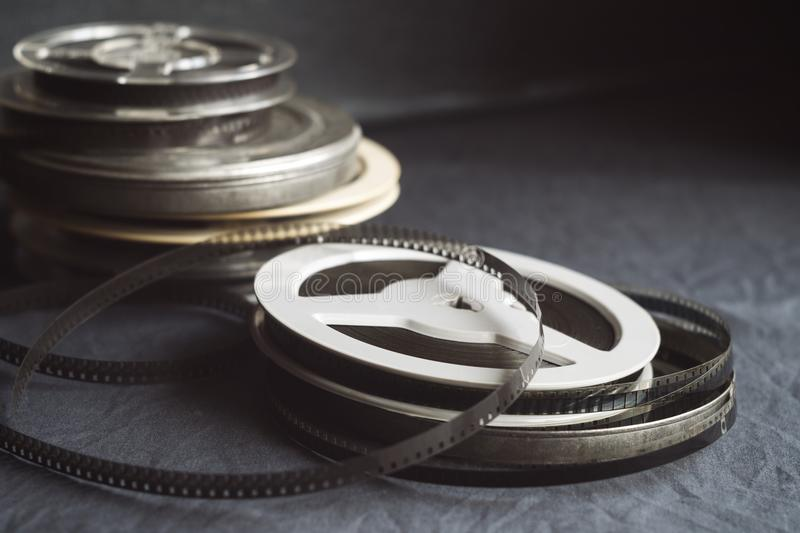 Old reels with black and white film stock photos