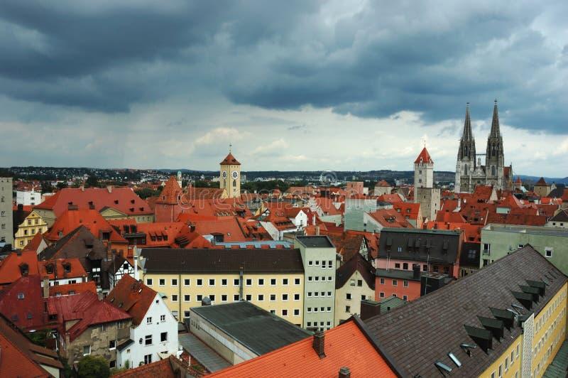 Old Regensburg roofs ,Bavaria,Germany stock photography