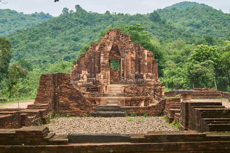 Old religious buildings from the Champa empire - cham culture. In my son, near Hoi an, Vietnam. World heritage site. royalty free stock photo