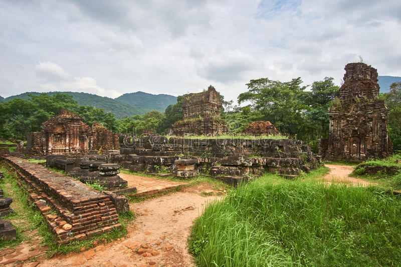 Old religious buildings from the Champa empire - cham culture. In my son, near Hoi an, Vietnam. World heritage site. stock photo