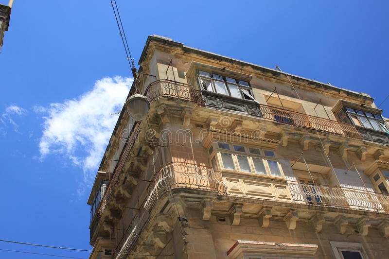 Old residental building in Valetta stock image