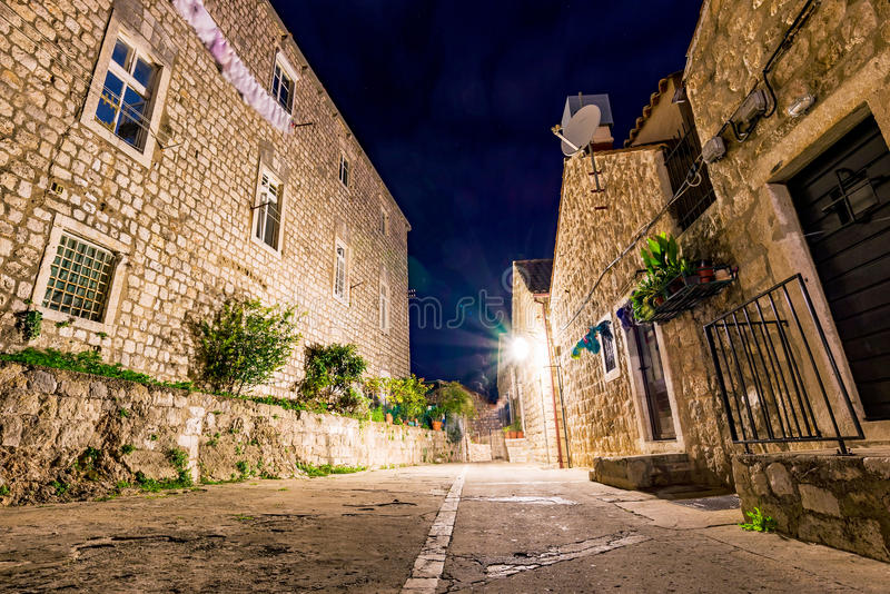 Old residential area in Dubrovnik. At night time royalty free stock photos