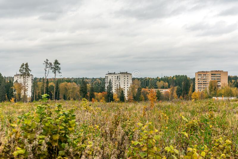 Old residential building in abandoned Soviet military town royalty free stock photo
