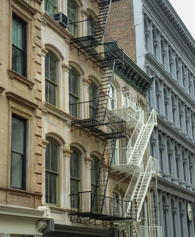 Old residential building in Soho district, New York City stock photography