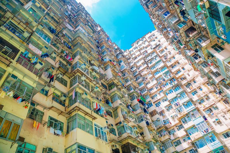 Old residential building at Quarry Bay in Hong Kong royalty free stock photo