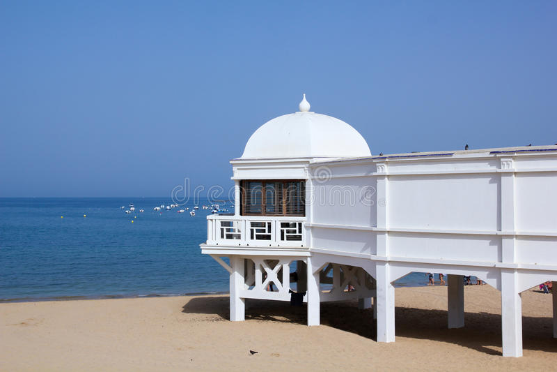 Old resort Cadiz. Old resort on the beach of Caleta, Cadiz, Andalusia, Spain royalty free stock photography