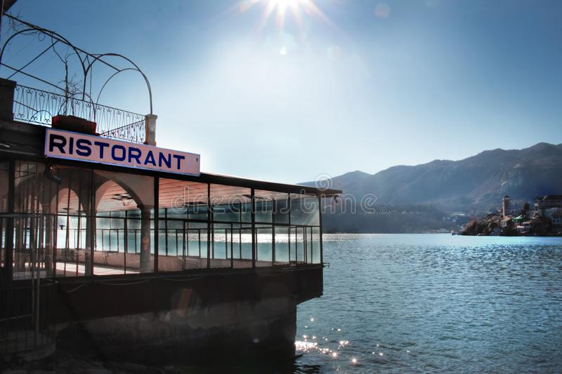 Old restaurant on the lake royalty free stock photos