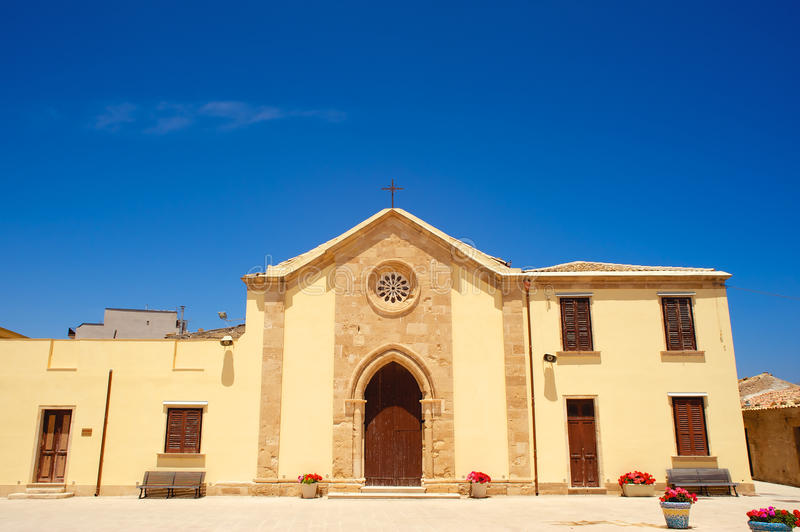 Old restored chapel in Marzamemi, Sicily (Italy) royalty free stock photography