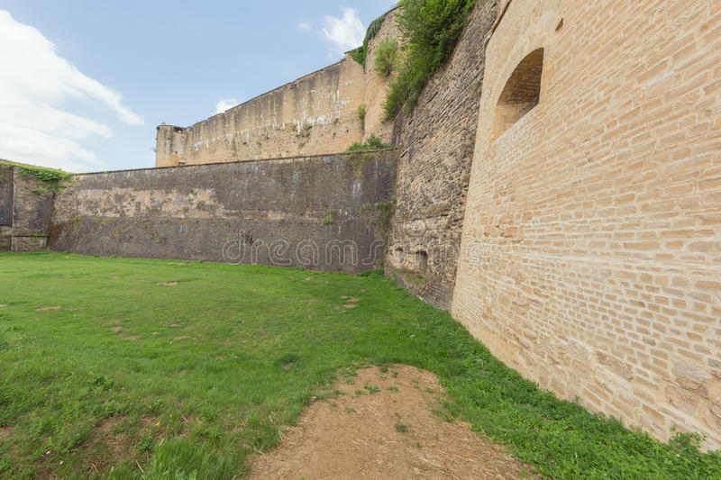 Old and restored walls of the Sedan Castle. Seen from the outside royalty free stock photos